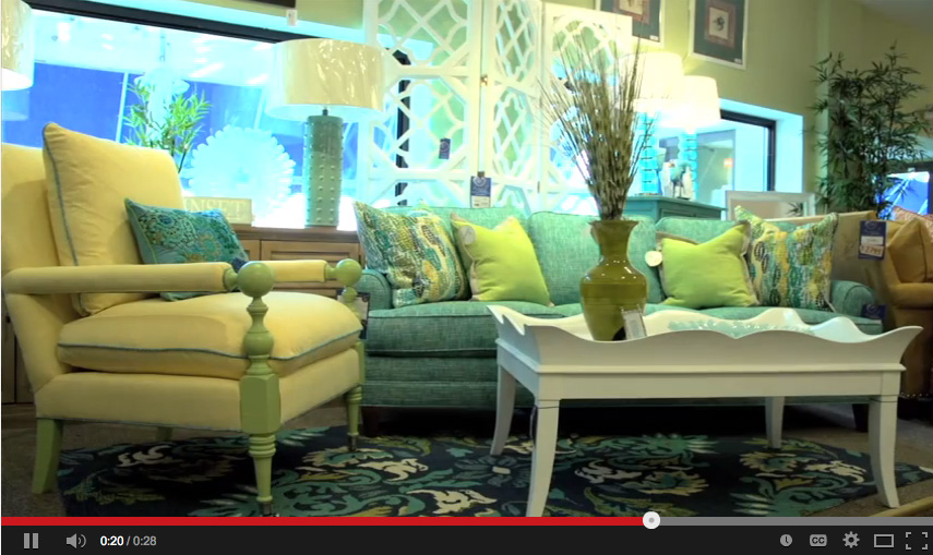 Screen capture of video showing Company C colorful living set.