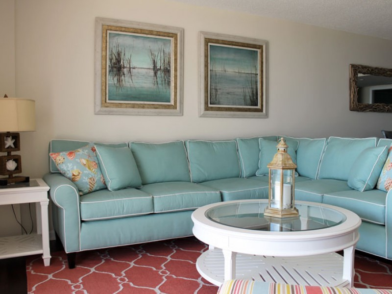 Coastal Living Room with Sectional