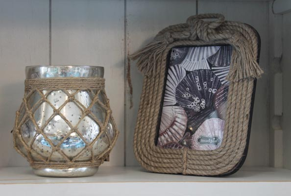 jute picture frame and glass jar