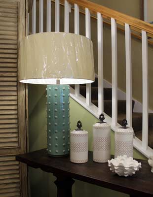 Teal lamp and white accessories