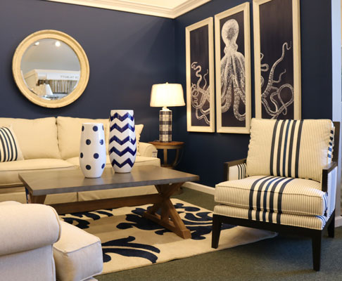 Navy and white sofa set